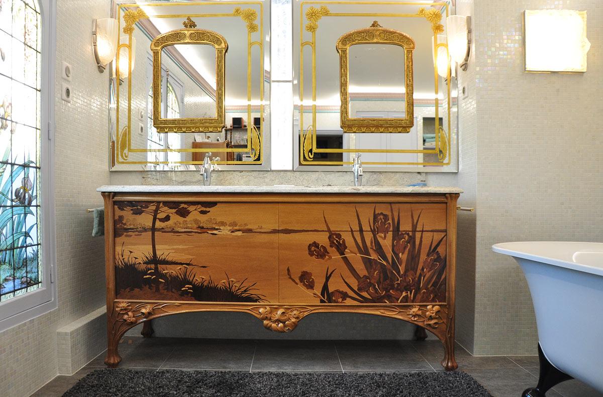 Salle de bain majorelle arabesques b nisterie for Meuble de salle de bain original
